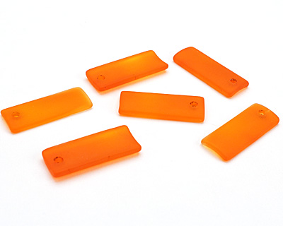 Tangerine Recycled Glass Bottle Curve Rectangle 14x35mm