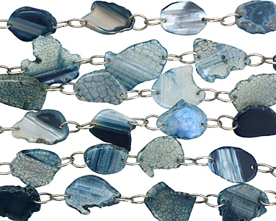 Blue Agate w/Rings Natural Edge Freeform Faceted Slab 30-38x21-34mm