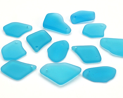 Pacific Blue Recycled Glass Freeform Drop 16-23x25-30mm