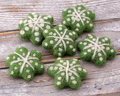 Green Felt Snowflake 45mm