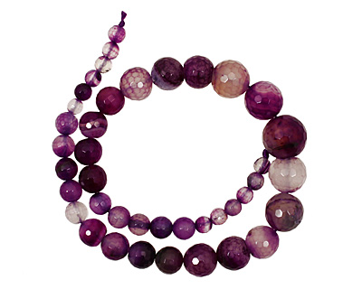 Purple Line Agate Faceted Round Graduated 6-15mm