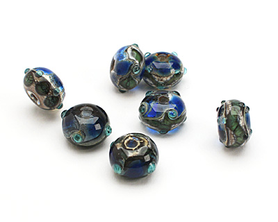 Grace Lampwork Deep Blue Ocean Rondelle 9x14mm