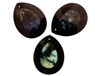 Labradorite Flat Teardrop Pendant Inlayed in Black Jasper 34x44mm