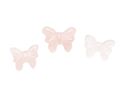 Rose Quartz Carved Butterfly 11-14x17-20mm