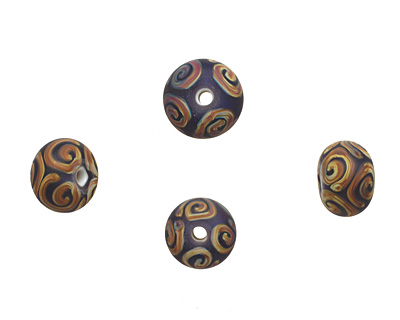A Beaded Gift Amethyst w/ Raku Spirals Tumbled Glass Rondelle 9-10x14-15mm