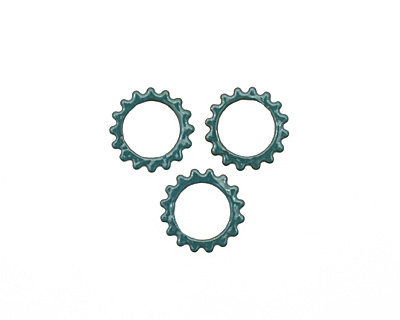 C-Koop Enameled Metal Peacock Blue Small Open Gear 16mm