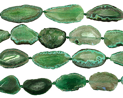 Grass Green Agate Natural Edge Freeform Faceted Slab 40-60x22-27mm