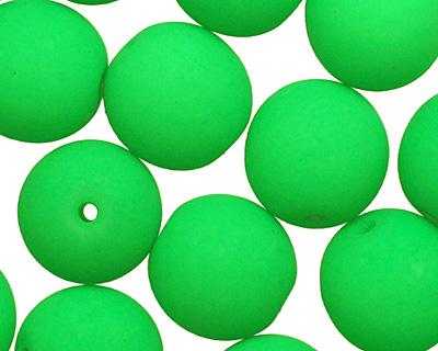 Czech Glass Bright Neon Green Round 8mm