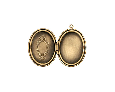 Antique Brass (plated) Oval Baroque Heirloom Locket 22x31mm