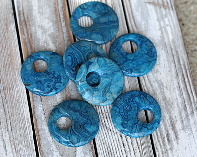 Larimar Blue Crazy Lace Off Center Donut 45mm