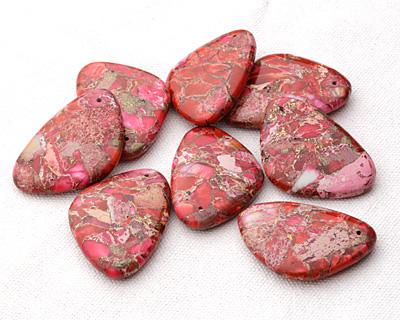 Ruby Impression Jasper & Pyrite Flat Freeform Pendant 31-32x45-46mm