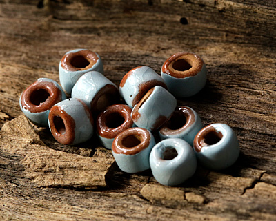 Greek Pueblo Ceramic Arctic Blue Mini Tube Spacer 4-5x6-7mm
