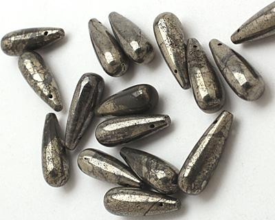 Golden Pyrite (silver tone) Teardrop Pendant 8x24mm