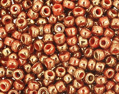 TOHO Gilded Marble Orange Round 11/0 Seed Bead
