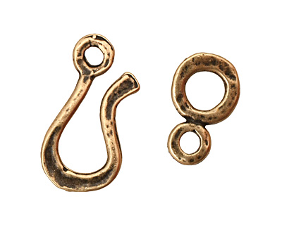 Antique Brass (plated) Hammered Simple Hook & Eye Clasp 32x12mm