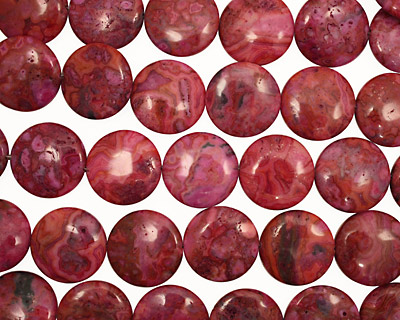 Ruby Crazy Lace Agate Puff Coin 25mm
