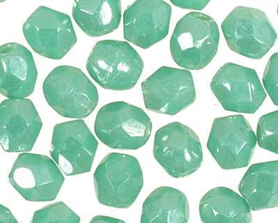 Czech Fire Polished Glass Luster Light Green Turquoise Round 3mm