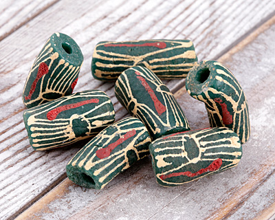 African Hand-Painted Print in Cream/Red on Evergreen Powder Glass (Krobo) Bead 23-28x12-13mm