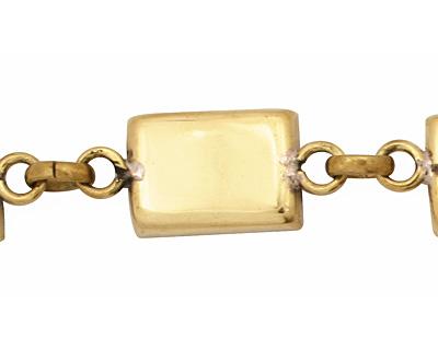 Brass Rectangle Bezel Link Bracelet 18x12mm