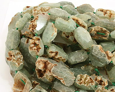 Prehnite Faceted Freeform Nugget Graduated 26-34x17-18mm