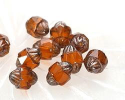 Czech Glass Amber w/ Silver Turbine 10x8mm