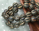 Czech Glass Forest Green Picasso w/ Gold Melon Round 10mm
