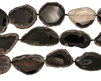 Black Agate Natural Edge Freeform Faceted Slab 50-68x30-41mm