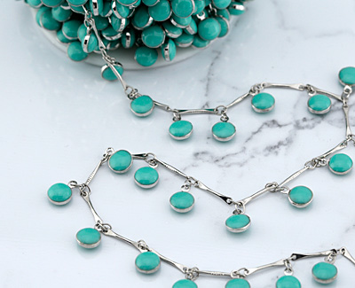 Zola Elements Silver Finish Bar Chain w/ Turquoise Coin Charm