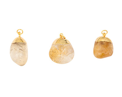 Citrine Tumbled Nugget w/ Gold Bail Pendant 17-22x23-32mm