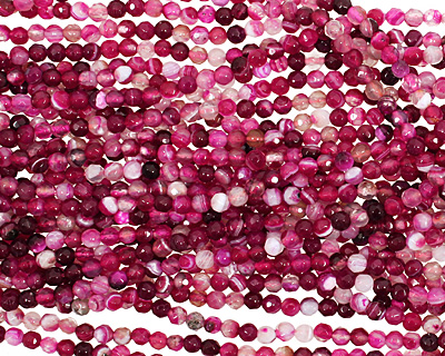 Ruby Line Agate Faceted Round 4mm