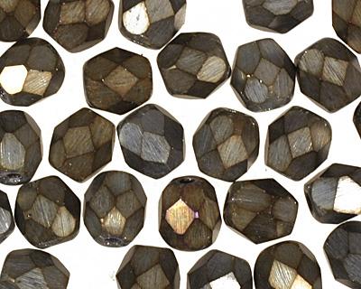 Czech Fire Polished Glass Matte Iris Brown Round 4mm