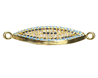 Clear Waters Mix Pave CZ Gold (plated) Eye Focal Link 28x12mm