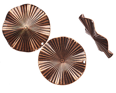 Stampt Antique Copper (plated) Ruffled Disk 44mm