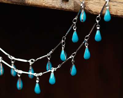 Zola Elements Silver Finish Bar Chain w/ Turquoise Teardrops