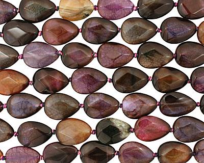Rainbow Snakeskin Agate Faceted Flat Teardrop 25x18mm