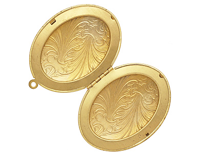 Brass Oval Feathered Heirloom Locket 48x64mm