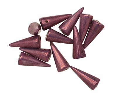 Czech Glass Chalk Purple Lumi Spike 7x17mm