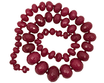 Ruby Jade Faceted Rondelle Graduated 5-13x8-17mm