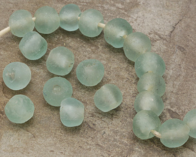 African Recycled Glass Azul Tumbled Round 12-16mm