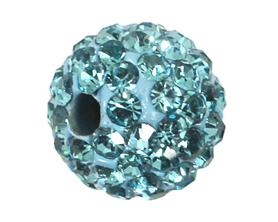 Aquamarine Pave Round 8mm (1.5mm hole)