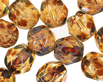 Czech Fire Polished Glass Crystal Picasso Round 6mm