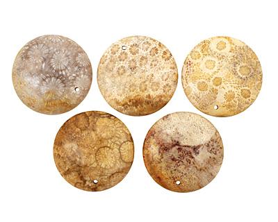 Fossil Jasper Coin Pendant 40mm