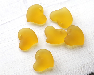 Desert Gold Recycled Glass Puffed Sweeping Heart Pendant 19x18mm