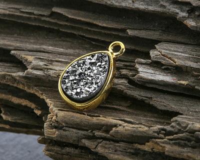 Metallic Jet Crystal Druzy Teardrop Charm in Gold Finish Bezel 9x14mm