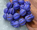 Czech Glass Matte Indigo w/ Chocolate Melon Round 14mm
