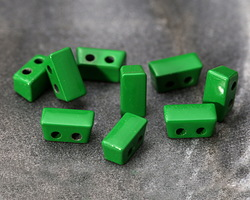 Kelly Green Enamel 2-Hole Tile Thin Rectangle Bead 4x8mm