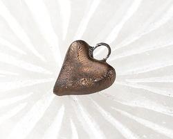 Gaea Ceramic Dark Gold Heart Charm 11x13-14mm
