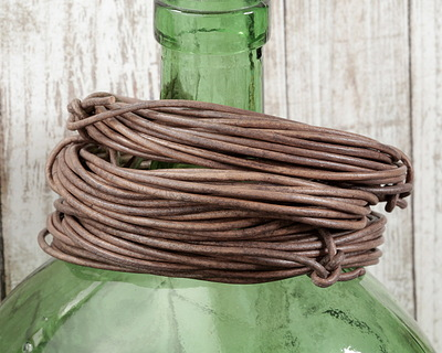 Natural Gray Round Leather Cord 2mm, 16 feet