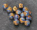 Cloisonné Blue & Aqua w/ Gold Finish Filigree Lotus Round Bead 8mm