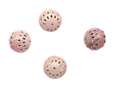 Painting with Fire Torch Fired Enamel Tallow Pink/Geranium Pink Moroccan Lantern Round 15mm